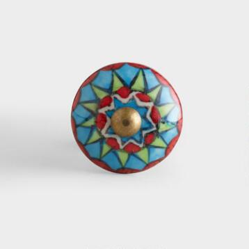 Multicolor Geometric Ceramic Knobs, Set of 2